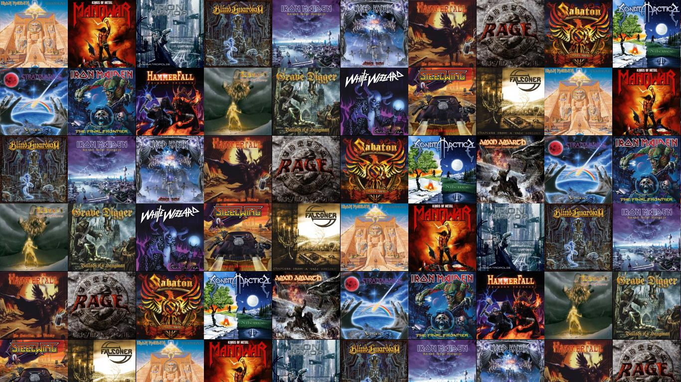 Download This Free Wallpaper With Images Of Iron Maiden Powerslave Manowar Kings Metal Savior Megatropolis Blind Guardian Nightfall In