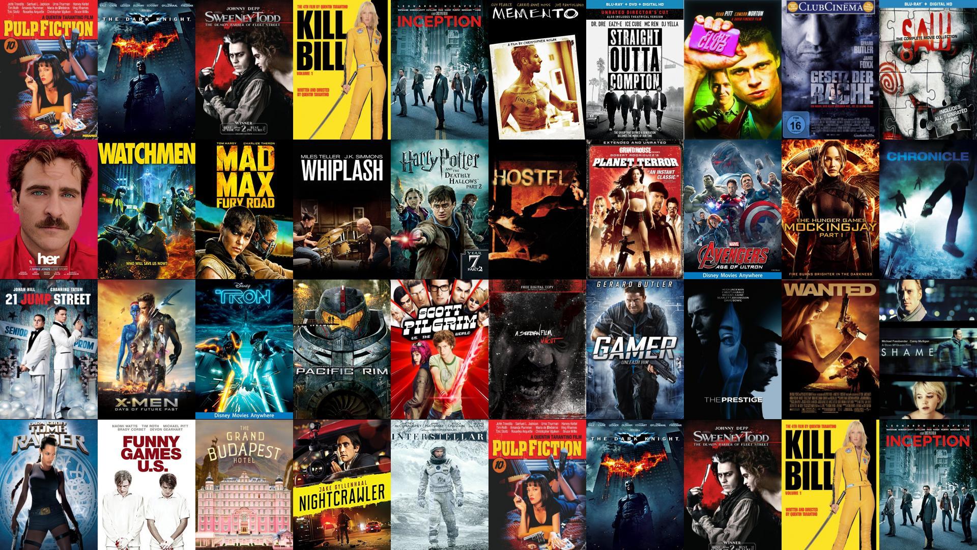 Pulp Fiction Dark Knight Sweeney Todd Kill Bill Wallpaper Tiled