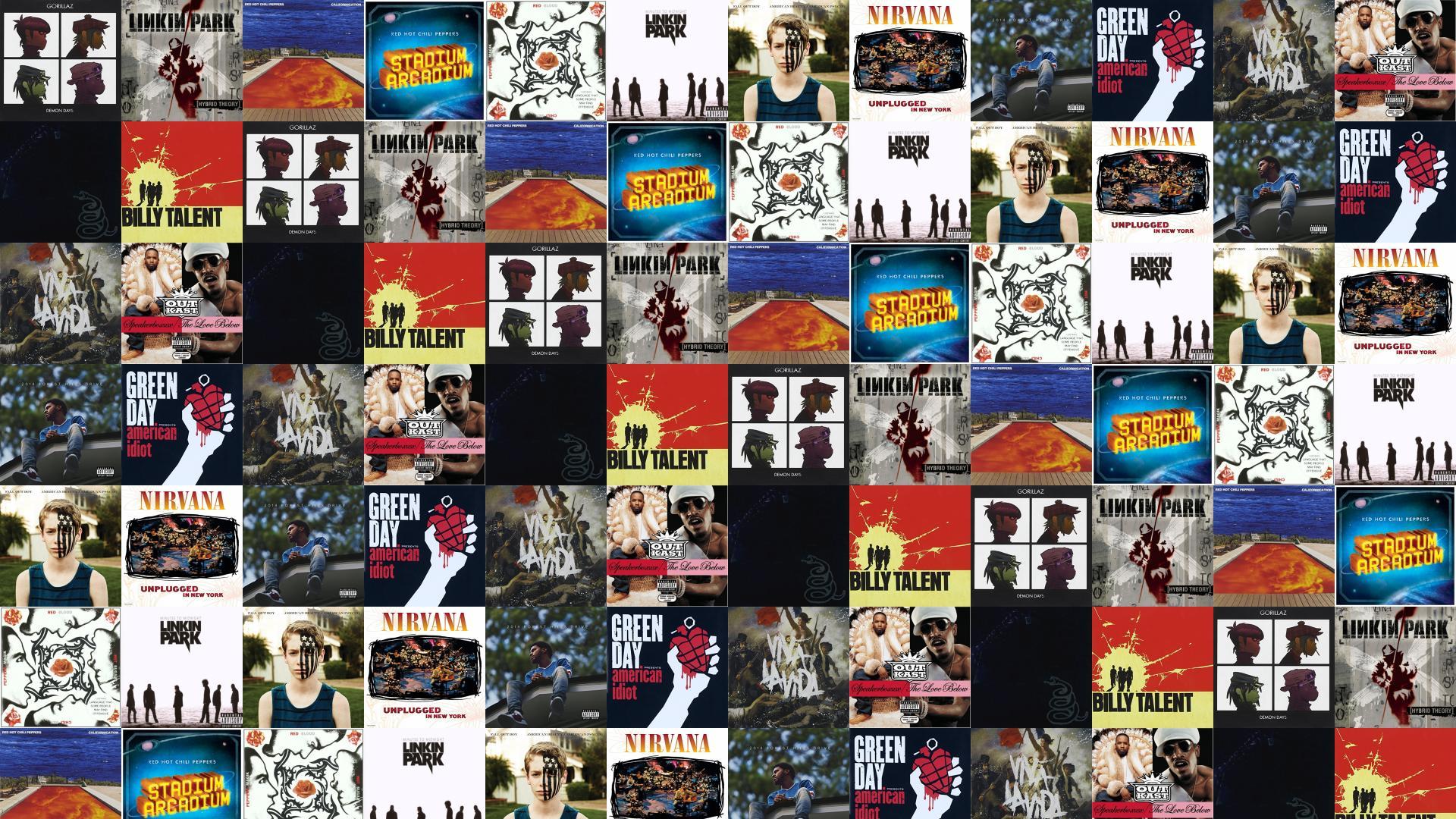 Gorillaz Demon Days Linkin Park Hybrid Theory Red Wallpaper Tiled
